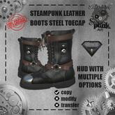 SW - Steampunk Leather Boots steel toecap Aesthetic