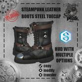 SW - Steampunk Leather Boots steel toecap Signature