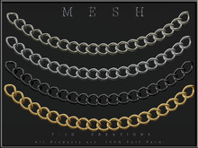 T-3D Creations [ Chain Curved 20 Rings - Gold / Silver / Black / Light Silver - ] MESH - Full Perm -