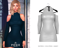 POSIE - Carla Cut Out Shoulder Dress .WHITE