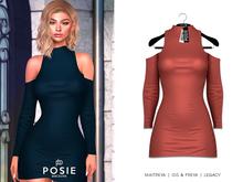 POSIE - Carla Cut Out Shoulder Dress .CORAL