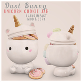 dust bunny . unicorn cookie jar