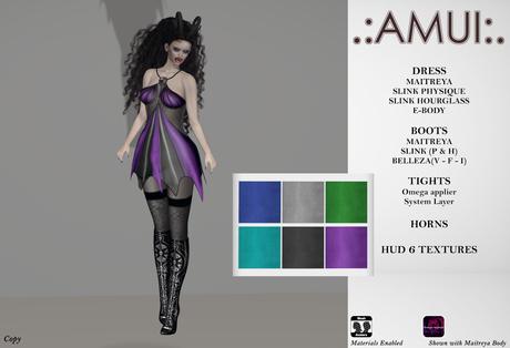 ".:AMUI:. ""Salem"" Outfit - Cool Tones (Maitreya/Slink/EBody)"
