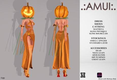 """.:AMUI:. """"Miss Pumpkin"""" Outfit (Maitreya/Slink)"""