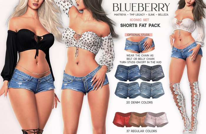 Blueberry - Iconic - Shorts & Chain Belt - Fat Pack