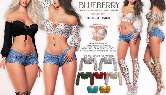 Blueberry - Iconic - Off Shoulder Tops - Fat Pack