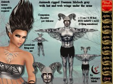 Animesh Moloch Men Companion grey shoulder pet ADD, winged daemon mesh rigged with hud menu 2 (6 flying animations)