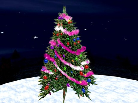 Blinking Christmas Tree with pink Garland