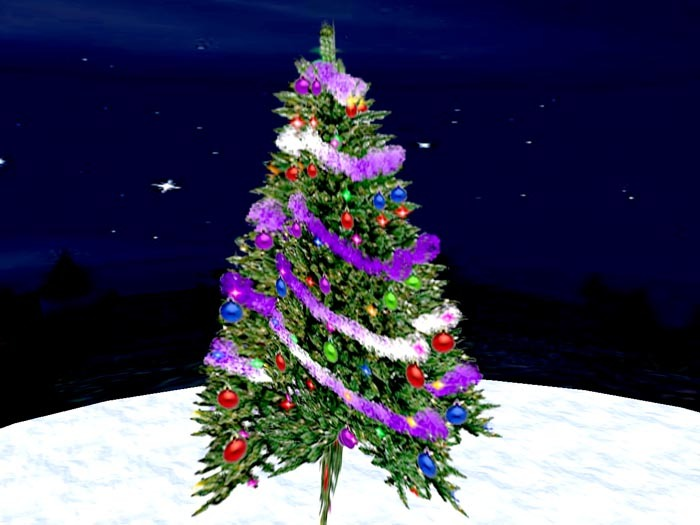 Blinking Christmas Tree with purple Garland