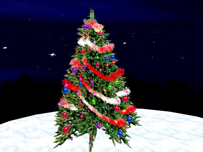 Blinking Christmas Tree with dark red Garland