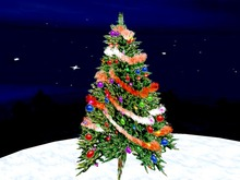 Blinking Christmas Tree with light red Garland