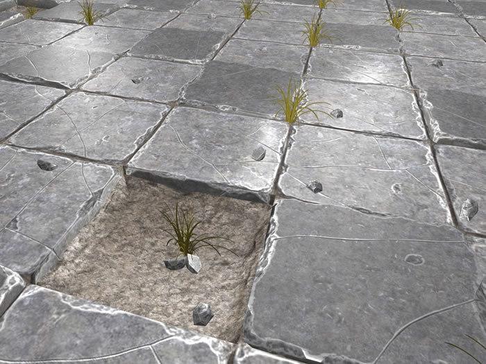 Broken Stone Floor - Low Prim - HD textures