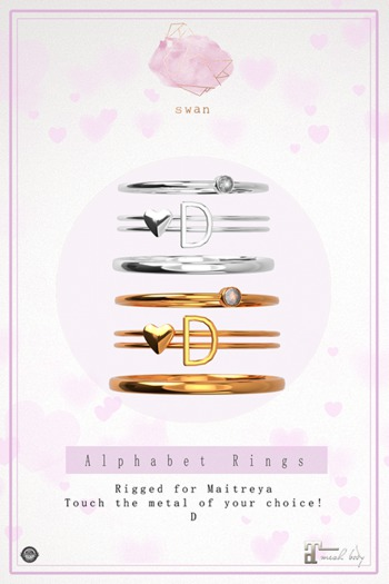 Swan Alphabet Rings Silver - D