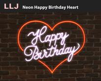 LLJ Neon Happy Birthday Heart