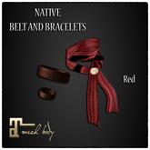 [JANGKA] NATIVE BELT + BRACELETS RED [Maitreya]
