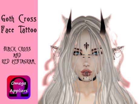 ::.Mary.:: Halloween Gift 2019 Goth Cross Face Tattoo