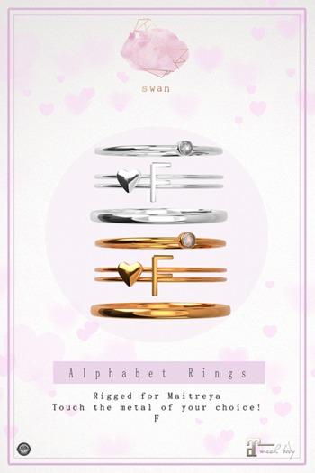 Swan Alphabet Rings Gold - F