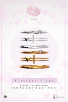 Swan Alphabet Rings Silver - I