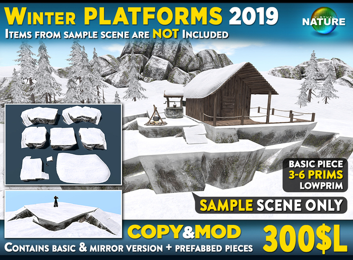Winter Cliff PLATFORMS SET: Walkable snow Cliff Platforms for placing house higher and level up terrain, cliff sideway
