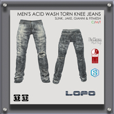 [LoPo] Torn Knee Grey Acid Wash Jeans (BOXED)