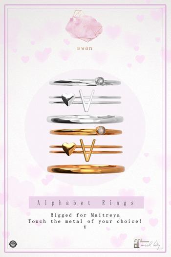 Swan Alphabet Rings Silver - V