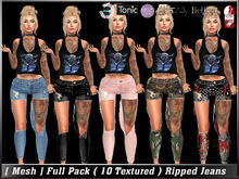 [Mesh] Full Pack ( 10 Textured ) Ripped Jeans