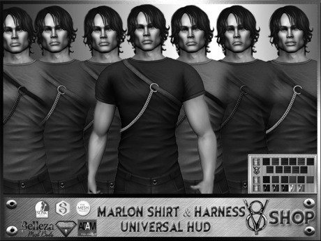 +V8 SHOP+ MARLON SHIRT & HARNESS UNIVERSAL HUD *DEMO*