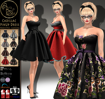 ***ArisArisB&W~Cadillac PinUp Dress-HUD