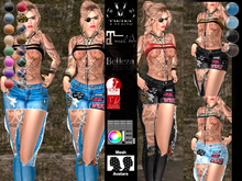 V-Twins - Biker Clothes - Turnaround Collection Biker Version **MESH Top & Pants Compat. (Maitreya Slink & Belleza)