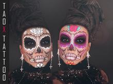 TAOX TaTToo Face Makeup Sugar Skull - pack 6 Differente Tones & BoM [ Bakes on Mesh ] & Appliers Omega Catwa Lelutka Vis