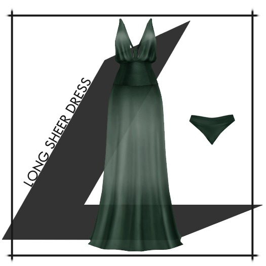 Lowen - Long Sheer Dress [Green]