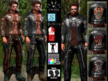 V-Twins Biker Clothes - Privateer Biker Outfit **MESH (Mesh Body Compatible)