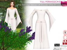 White Bell Edge Sleeves Off Shoulder White Elf Gown Dress | Maitreya Slink Belleza Tonic Ocacin Classic