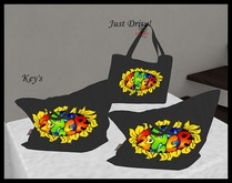 TOTE Black Weave Flower Power 1LI - gives Animated Wallet/Phone or Tote on click