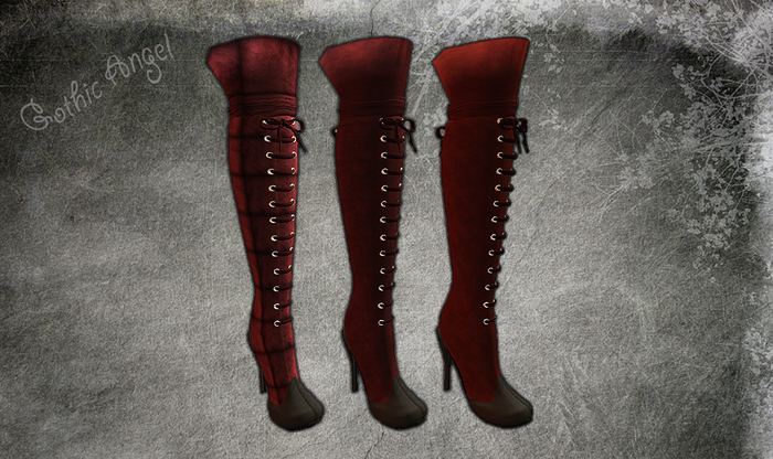<GIFT> Gothic Angel Leather Knee High Rouge Boots