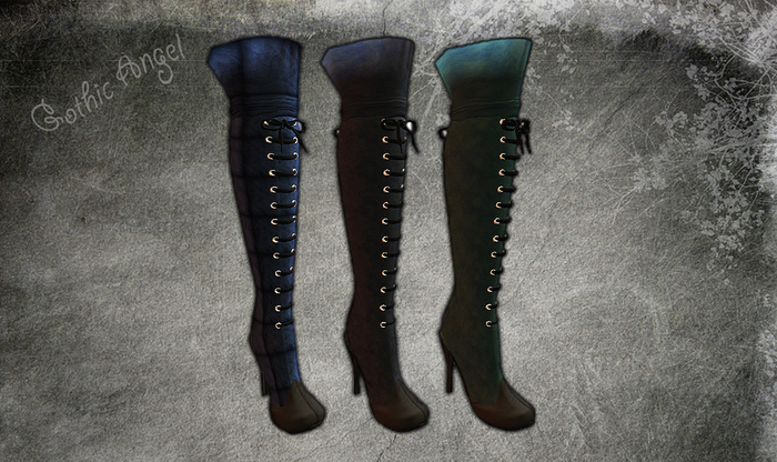 <GIFT> Gothic Angel Leather Knee High Dusty Blue Boots