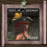 ** Pirate Hat with Feathers and Bandanna (boxed) - unisex pirate's accessory - Updated