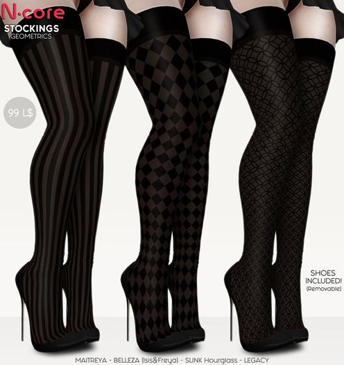 "N-core Stockings ""Geometrics"" (BLACK)"