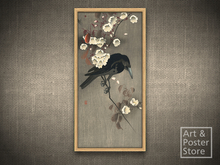 CROW AND CHERRY BLOSSOMS | Koson Ohara Classic Japanese Art Print #17 | Mesh Frame with 5 texture options