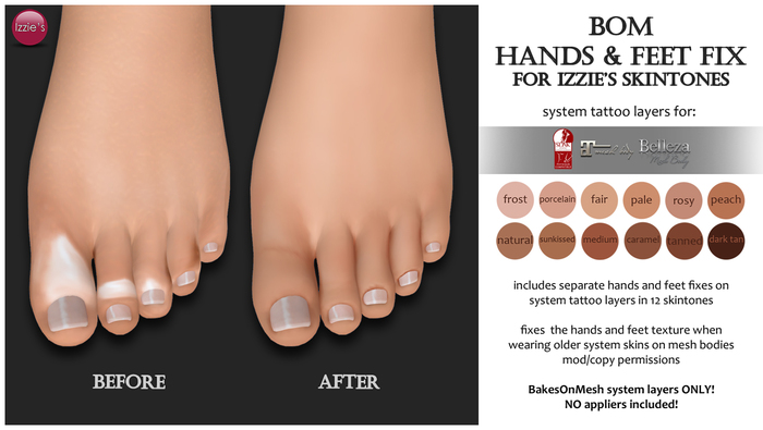 Second Life Marketplace - Izzie's - BOM Hands & Feet Fix (for Izzie's  skintones)