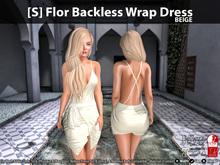 [S] Flor Backless Wrap Dress Beige