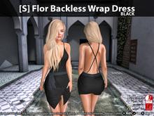 [S] Flor Backless Wrap Dress Black
