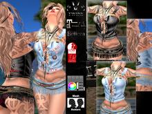 V-Twins- Biker Clothes - Fortune Teller Biker Version **MESH Outfit [Mesh Bodies Compatible] Maitreya Slink Belleza