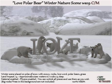 Winter Love Polar Bear scene wa19 C/M