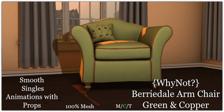 {WhyNot?} Berriedale Arm Chair-Green & Copper-Boxed