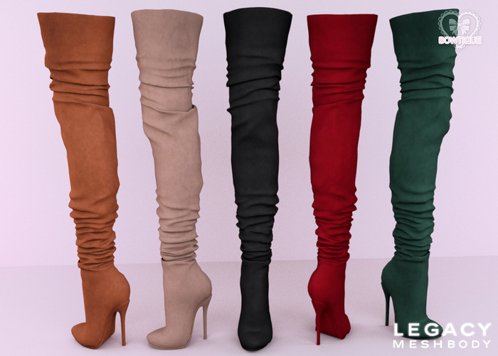 Bowtique - Suede Thigh Boots - Legacy (With HUD)