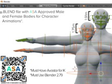 ASA Approved Male and Female Mesh Bodies for Blender Character Animation in Avastar