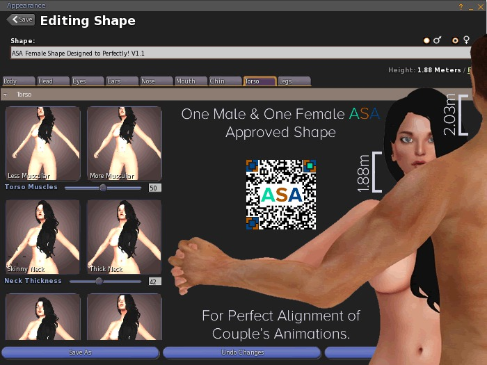 ASA Male & Female Shapes for Animation Adjustments & Alignment  Comes with FULL PERM AVsitter Script & Example Notecard.