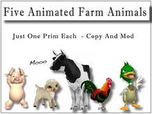 Five Animated Farm Animals