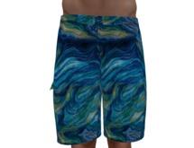Blue Green Swirls Swim Trunks - Gianni